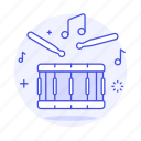 1, drum, drumstick, field, instruments, music, percussion, side, snare icon