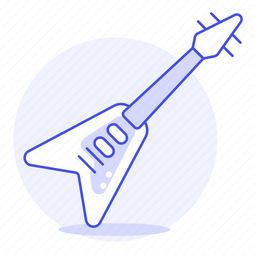 1, electric, guitar, instruments, music, plucked, string, style, v icon