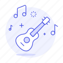 acoustic, fretted, guitar, instruments, music, plucked, six, string, wooden icon