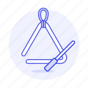 idiophone, instruments, music, percussion, triangle icon