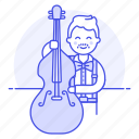 1, bass, bassist, bowed, double, half, male, music, musicians, orchestra, symphony icon