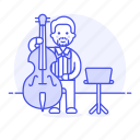 1, bass, bassist, double, full, male, music, musicians, orchestra, symphony icon