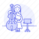 2, bass, bassist, double, female, full, music, musicians, orchestra, symphony icon