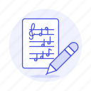 cleff, composition, music, musical, notation, note, pencil, sheet, treble