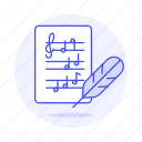 2, cleff, composition, feather, music, musical, notation, note, quill, sheet, treble icon