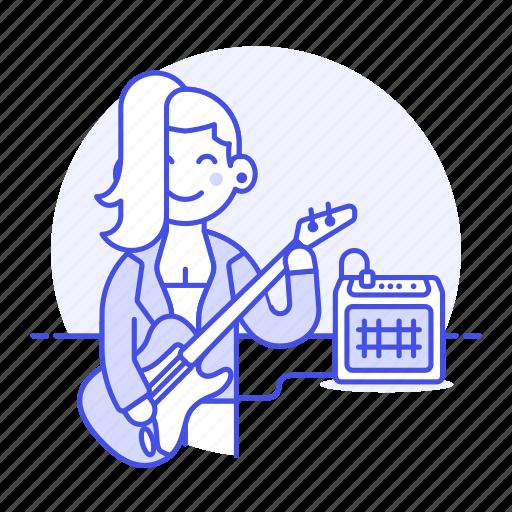 bass, bassist, female, guitar, music, musicians, player, rock, singer, star icon