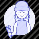 2, artist, female, half, microphone, music, musicians, singer, single, vocalist icon