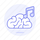 2, brain, concentration, double, genre, music, note, playlist, study icon