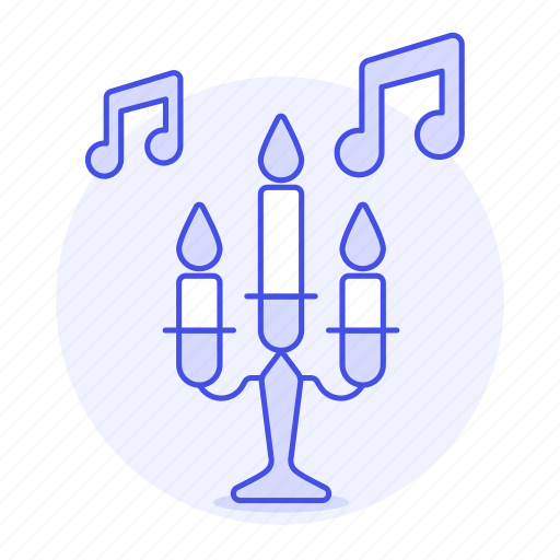 candles, chandelier, classical, double, genre, instrumental, music, note, song, theme icon