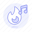 double, fire, flame, genre, hit, hot, music, note, playlist, trending, trendy