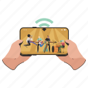 mobile, device, hand, gestures, live, streaming, screen