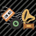 music, classic, retro, player, entertainment, cassette, record icon
