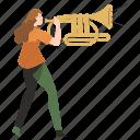 music, trumpet, announcement, marketing, newsletter, notification, woman