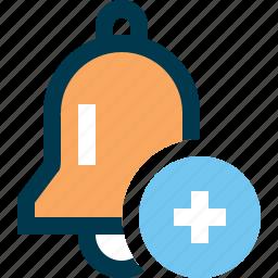 add, alarm clock, bell, jingle, plus, sound, tune icon