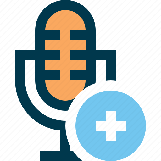 add, microphone, mike, plus, record, sound icon