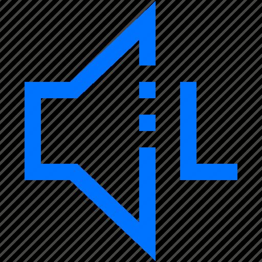 audio, direction, left, music, sound, speaker, volume icon