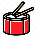 drum, drumsticks, music instrument, orchestra, percussion icon