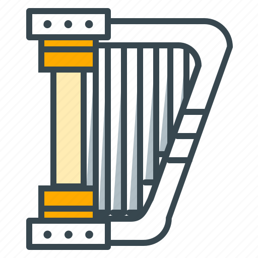 classical, entertainment, harp, instrument, music icon