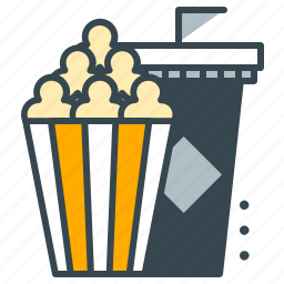 cinema, drink, entertainment, movie, popcorn, snack, soda icon