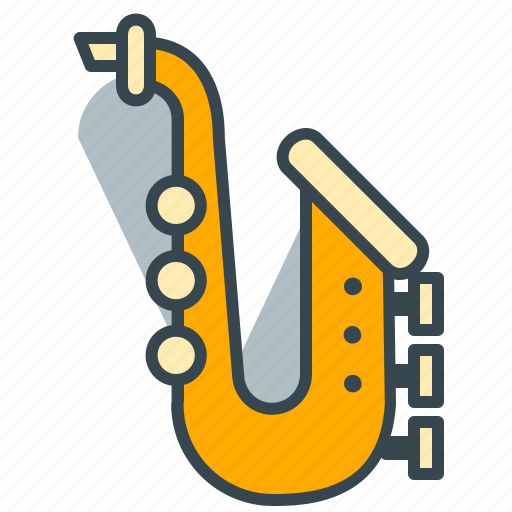 entertainment, instrument, jazz, music, saxophone icon