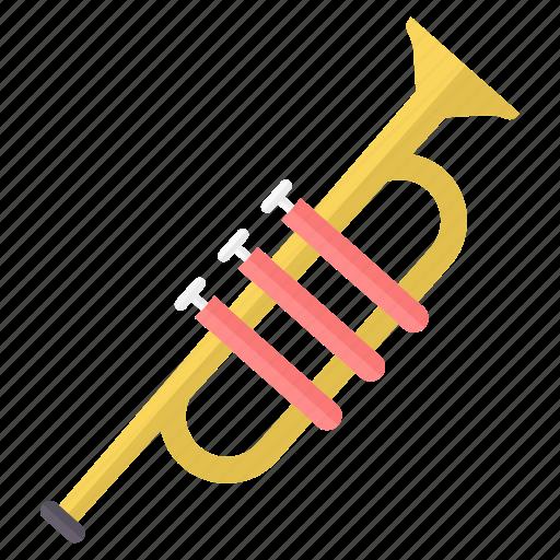 instrument, instruments, music, musical, sound, trumpet icon