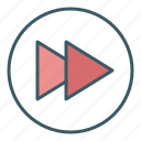 audio, circle, forward, media, speed, ui, video icon