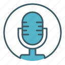 broadcasting, circle, mic, microphone, radio, speak icon