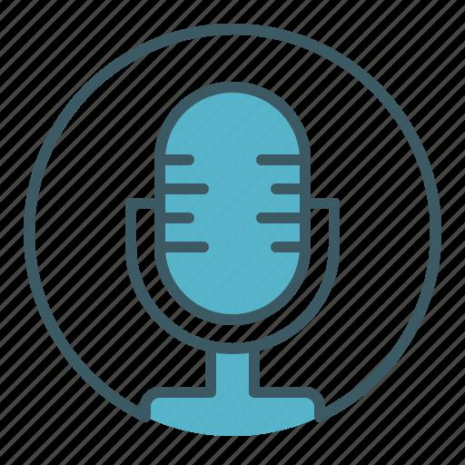 broadcasting, circle, mic, microphone, radio, speak icon