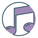 audio, circle, music, note, song, sound icon