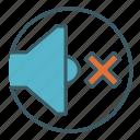 audio, circle, muted, silence, sound, speaker, volume icon