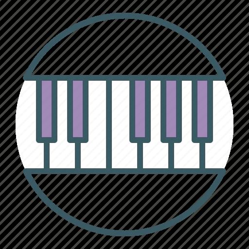circle, instrument, music, musician, piano icon