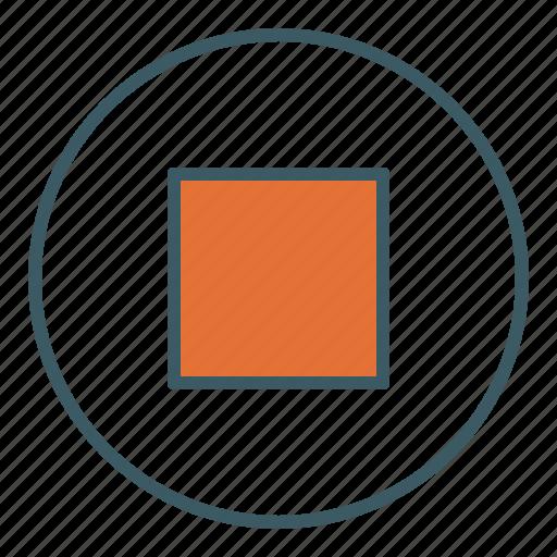 audio, circle, media, stop, ui, video icon