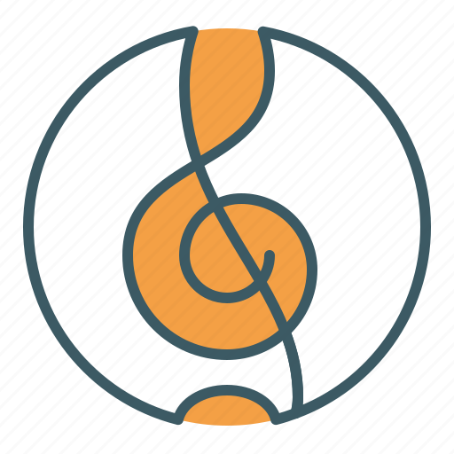 circle, clef, music, song, treble icon