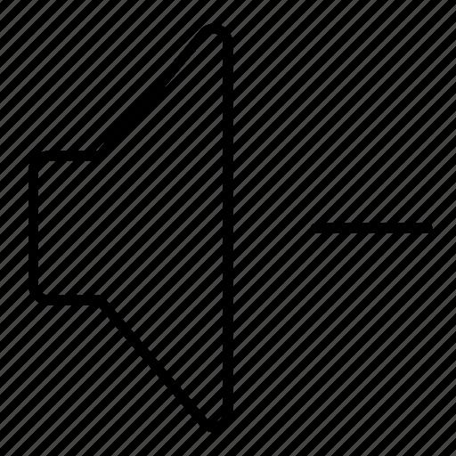 down, minimalist, multimedia, music, sound, speaker, ui, vol, volume icon
