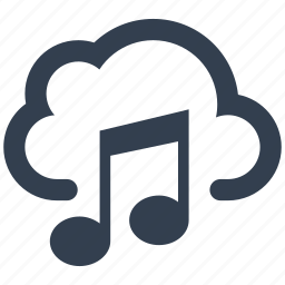 cloud, multimedia, music, musical note, storage, wireless icon
