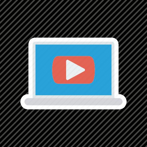 gadget, laptop, play, video icon
