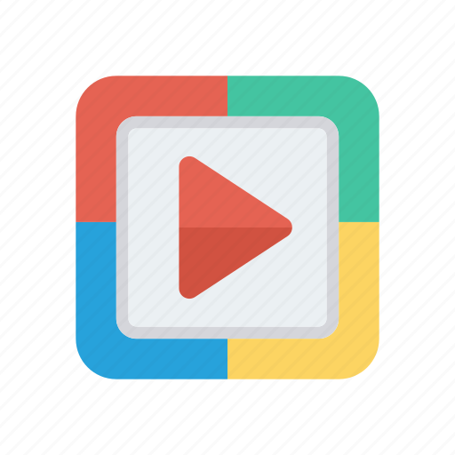chevron, play, video icon