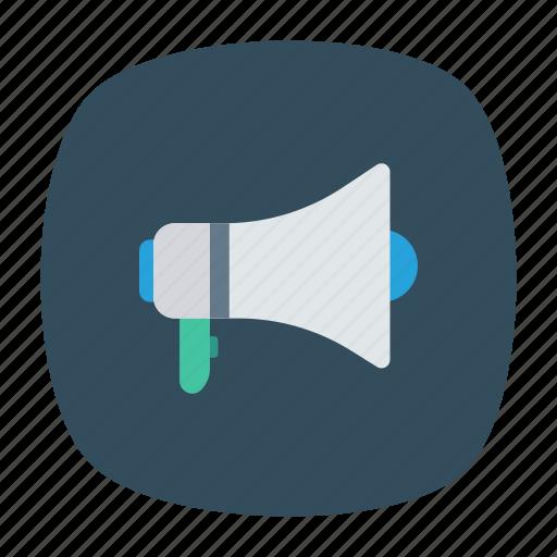 loud, media, megaphone, speaker icon