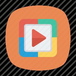 chevron, play, video icon