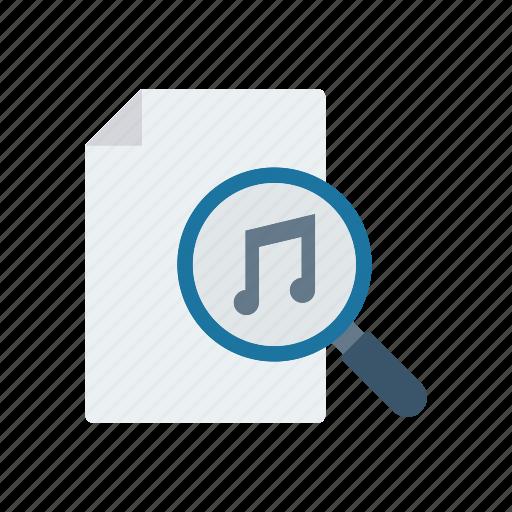file, melody, music, search icon