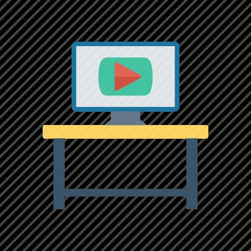 interior, monitor, screen, table icon