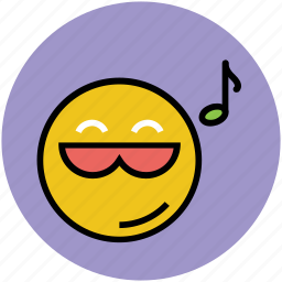 emoticon, entertainment, fun, music notes, musical smiley icon