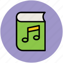 audio, audiobook, music informations, musical book, musical notes icon