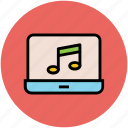 laptop screen, media, multimedia, music, music listening, online music icon