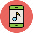 media, mobile music, mobile screen, modern technology, music sign, smartphone icon