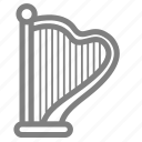 harp, instrument, music, string icon