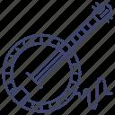 banjo, instrument, music, world icon