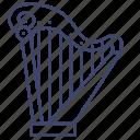 harp, instrument, lyre, music
