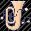brass, instrument, music, tuba