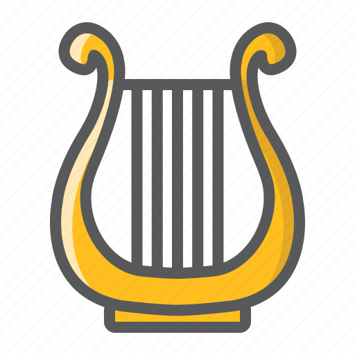 ancient, greek, harp, instrument, lyre, melody, music icon